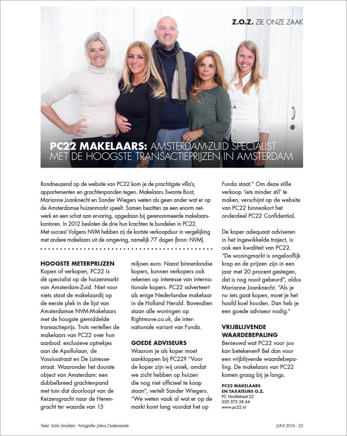 PC22 Makelaars: Amsterdam-Zuid specialist met de hoogste transactieprijzen in Amsterdam